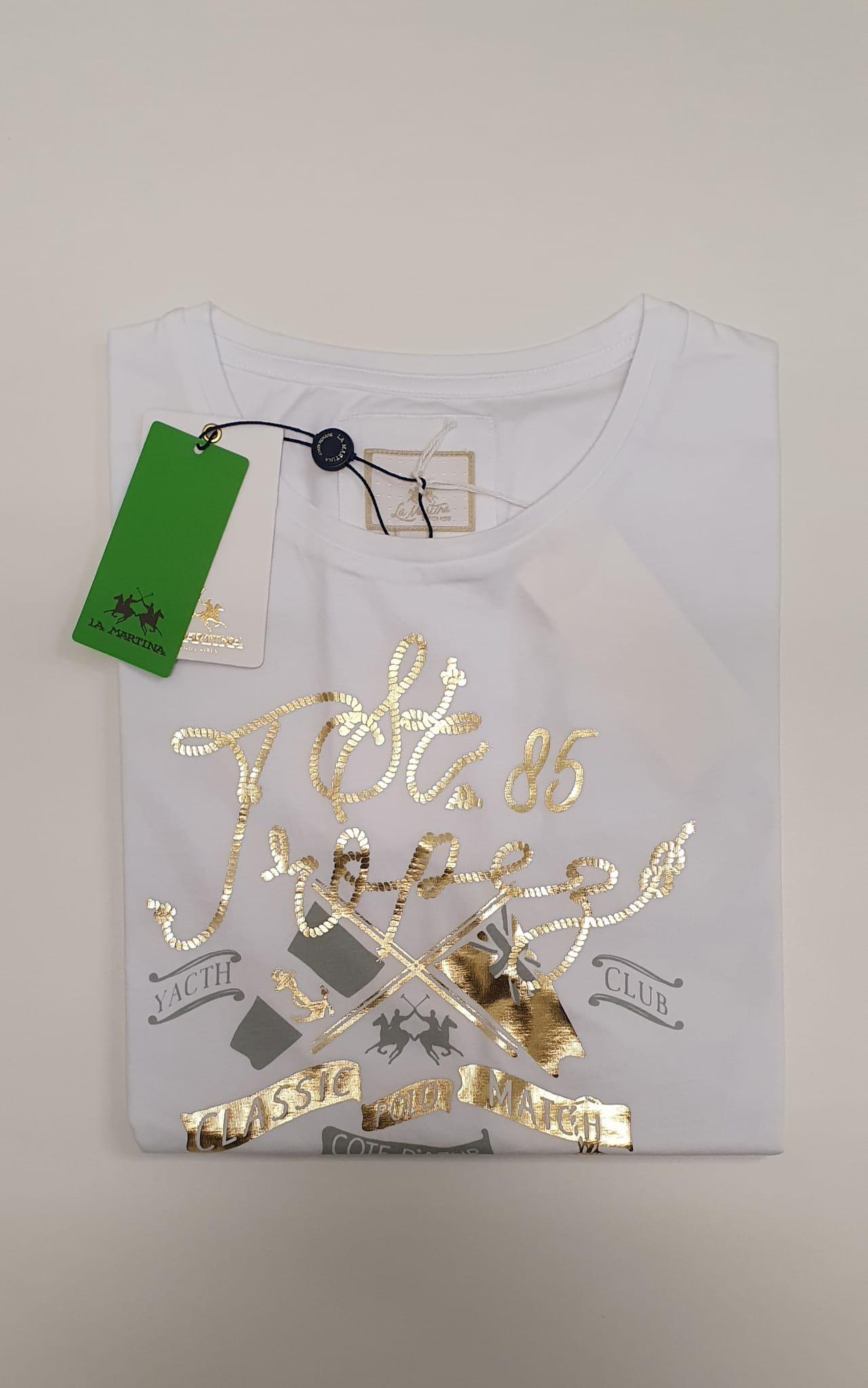 T-Shirt La Martina Viscosa in Colone 100% Regular Fit Bianco