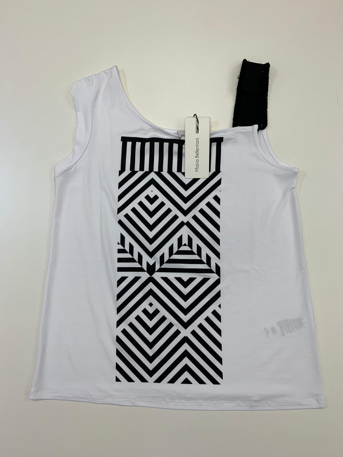 T-Shirt Maria Bellentani Fantasia Geometrica Bianco