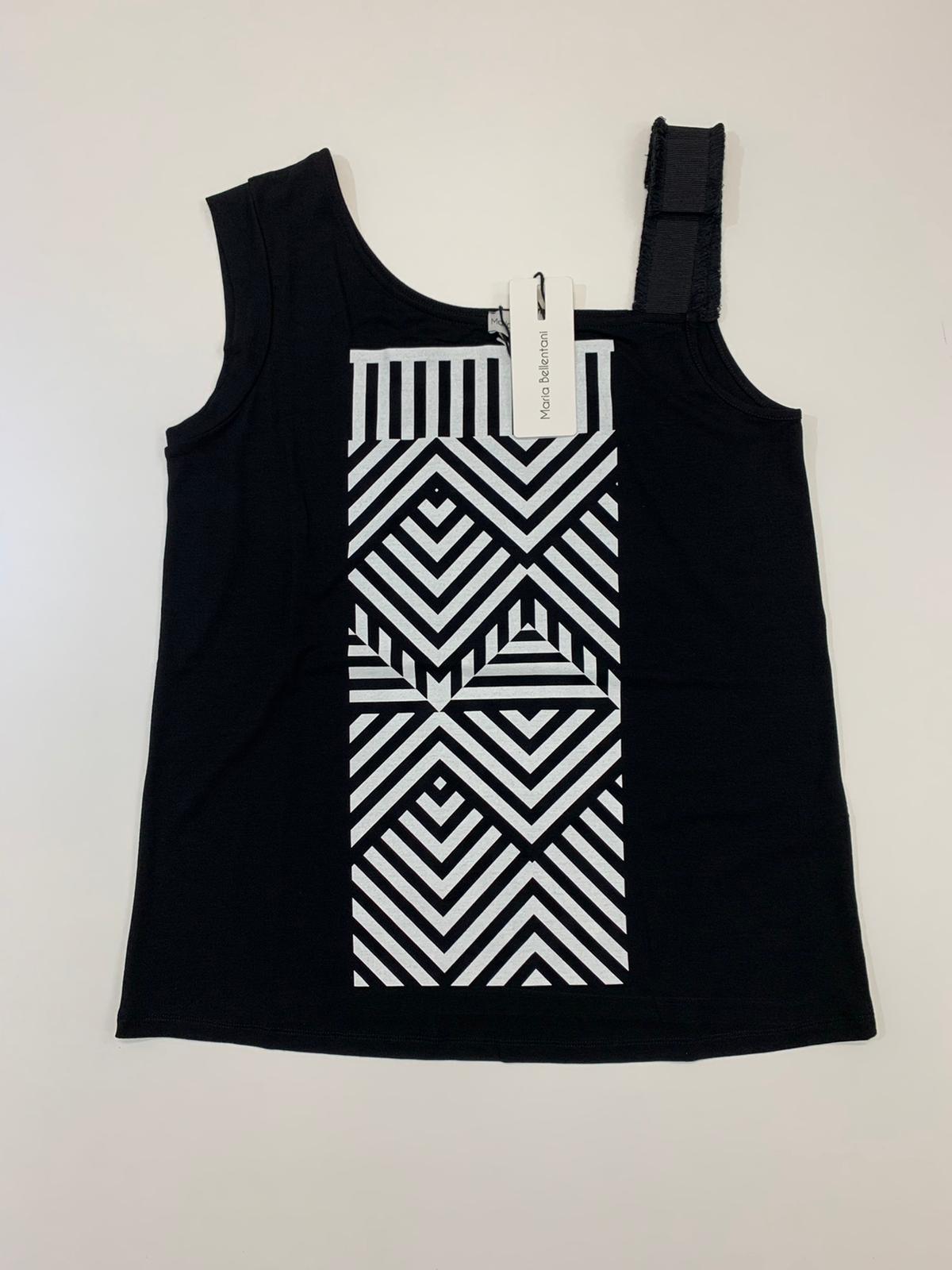 T-Shirt Maria Bellentani Fantasia Geometrica Nero
