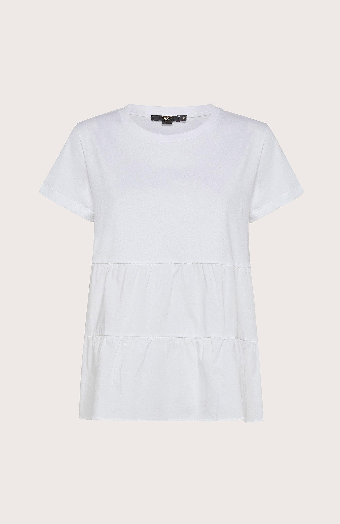 T-Shirt Seventy Con Balze Bianco