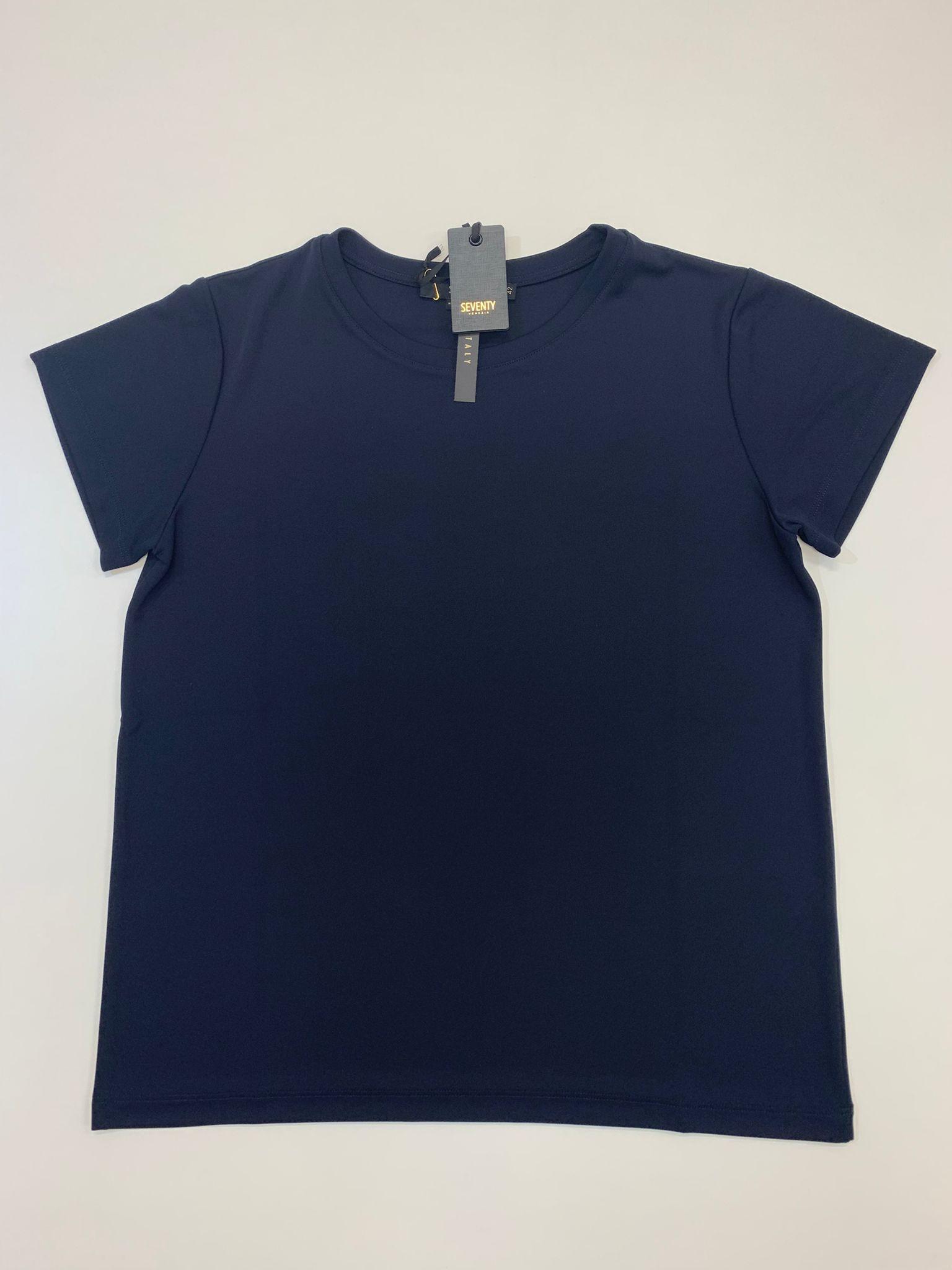 T-Shirt Seventy in Jersey e Crepe Blu