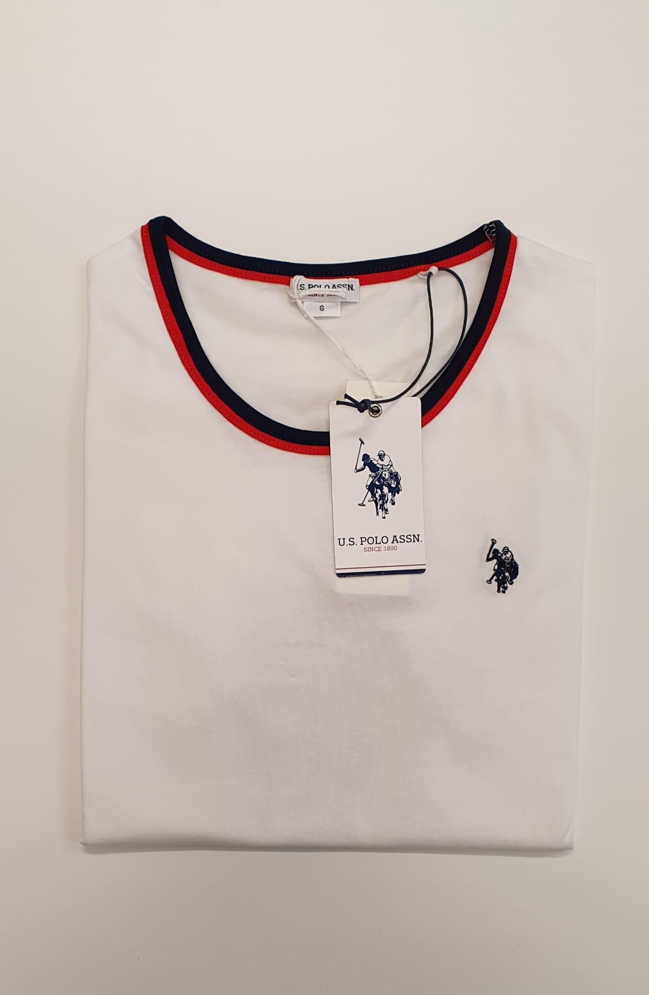 T-Shirt US Polo Bordino Bianco