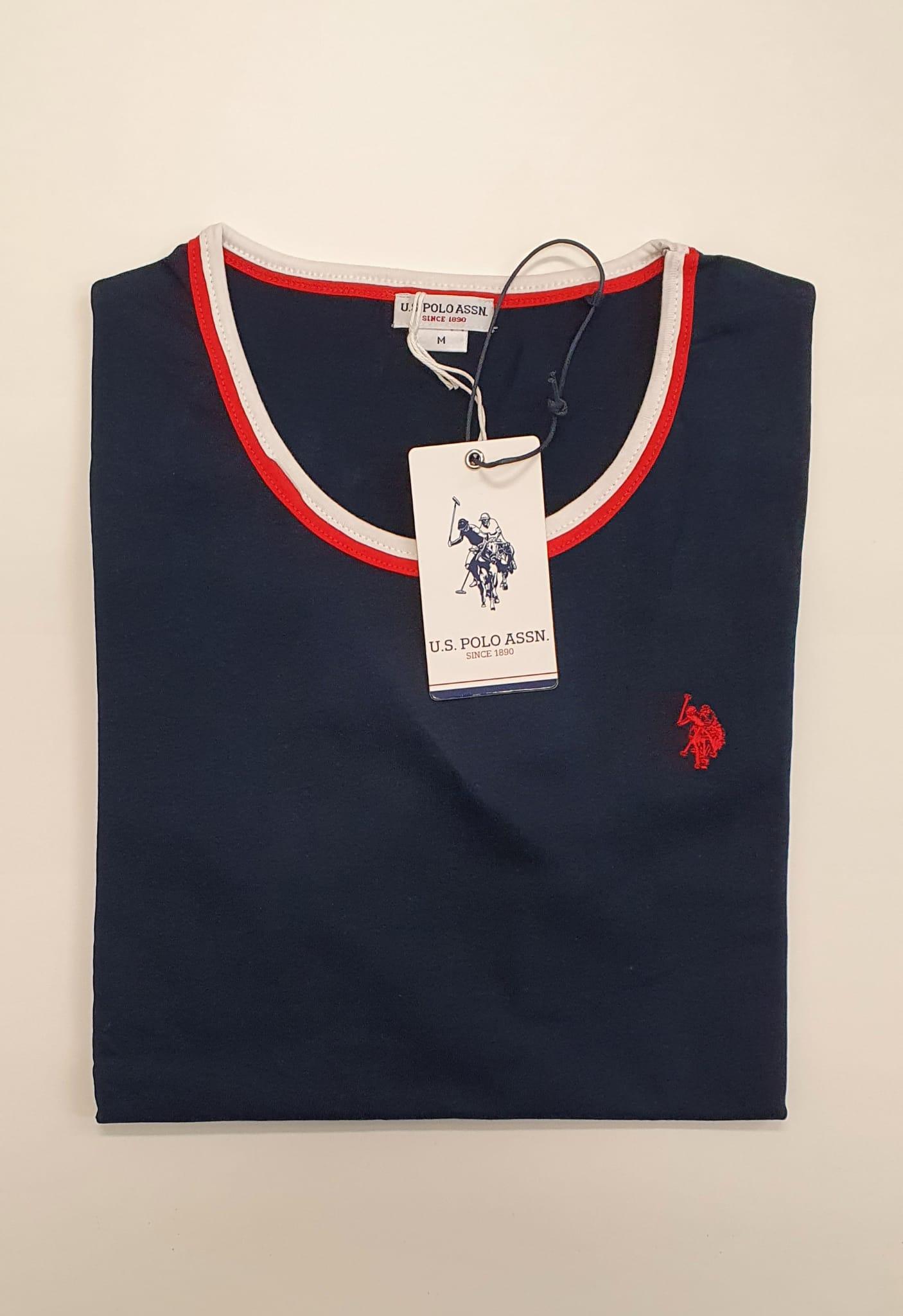 T-Shirt US Polo Bordino Blu