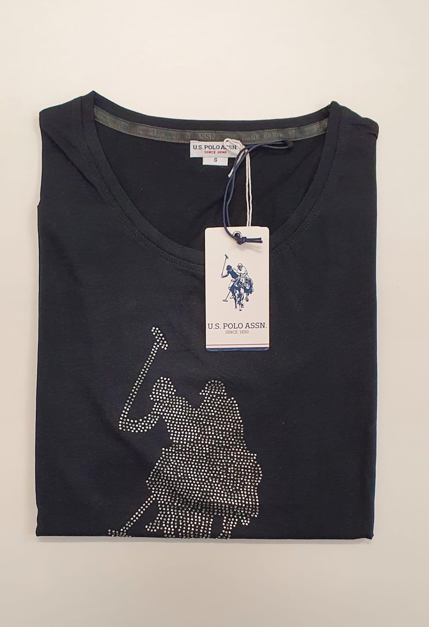 T-Shirt US Polo Cavallo Lurex Nero