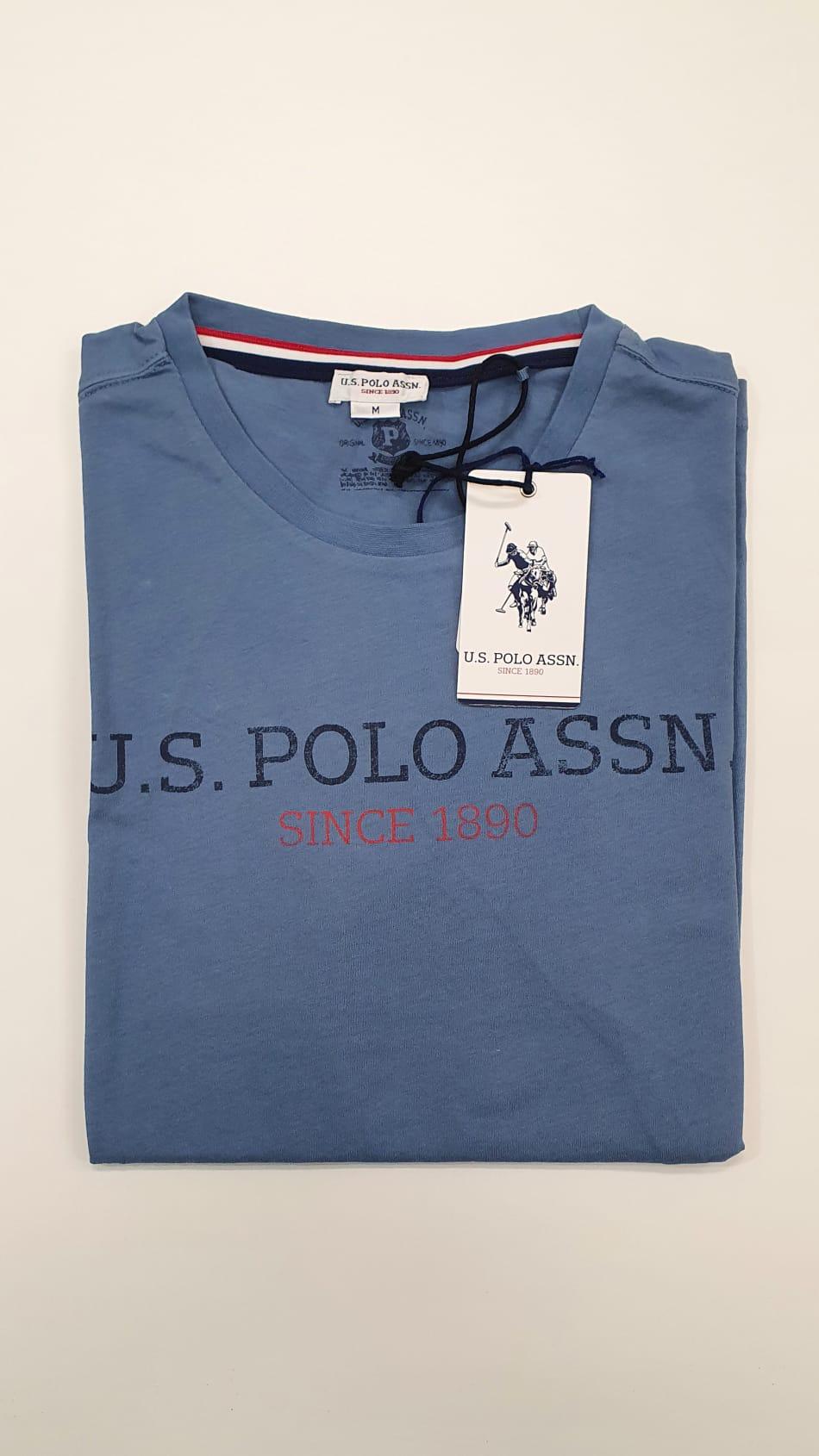 T-Shirt US Polo Scritta Blu