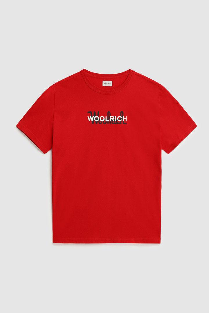 T-Shirt Woolrich in Puro Cotone con Maxi Logo Rossa
