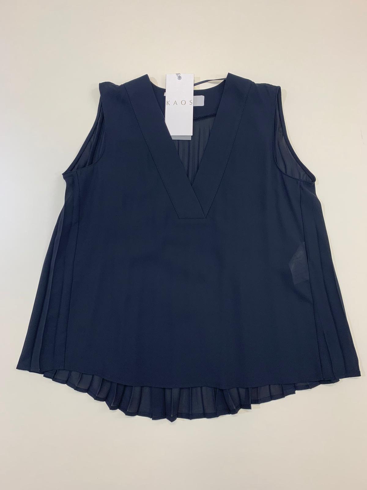 Top Donna Kaos Collection Plisse Dietro Blu