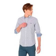 Camicia Harmont E Blaine Cotone a Riche con Dettagli Contrasto Azzurro