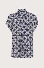 Camicia Seventy in Crepe Stampata Blu