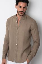Camicia XACUS Lino Coreano Beige